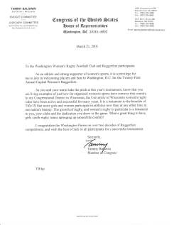Ruggerfest 2001 Letter from Congress