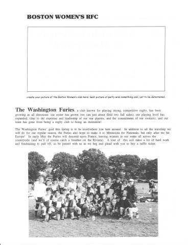 Ruggerfest 1997 Program - Boston & DC Furies